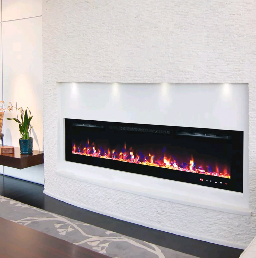 BRANDED 72 INCH LED FLAMES MODERN BLACK/WHITE GLASS WALL MOUNTED-ELECTRIC FIRE
